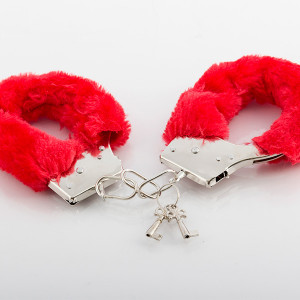 Xειροπέδες Metal Handcuff with Plush Red